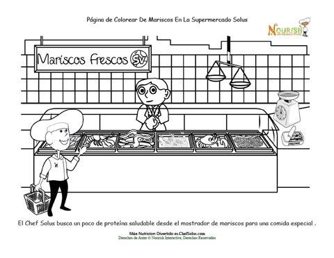 Página Para Colorear Del Chef Solus Compra Mariscos En El ...