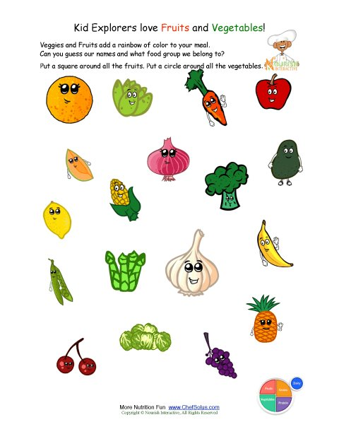 Printable - Identify the Fruits and Vegetables worksheet