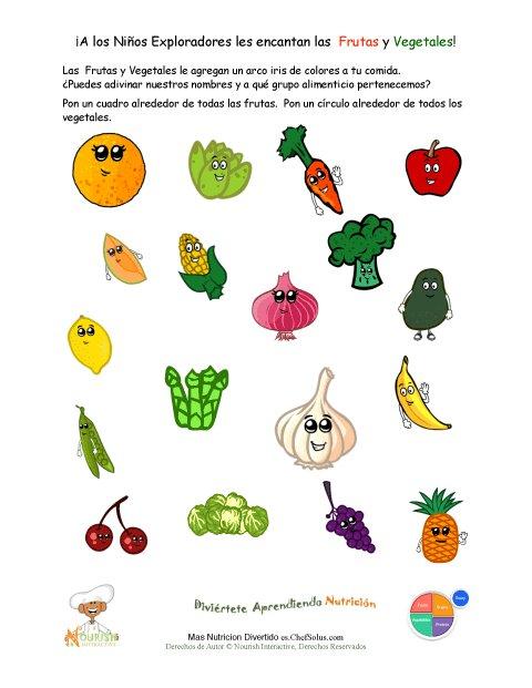 Imprimible – Hoja de Identificar las Frutas y Vegetales