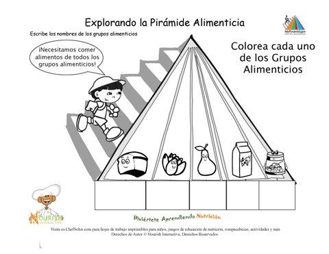 Imprimible colorea la pir mide alimenticia y nombra los grupos alimenticios ni o - Piramide alimenticia para ninos para colorear ...
