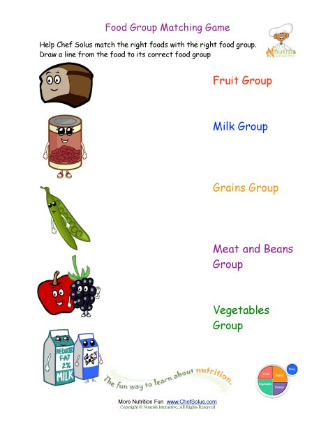 Printable Match the Foods to the Food Group Worksheet