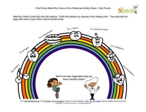 Chef Solus Meet the Colors of the Rainbow Activity Sheet
