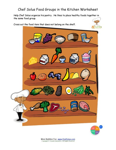 Printable - Colorful Food Groups Sorting Worksheet