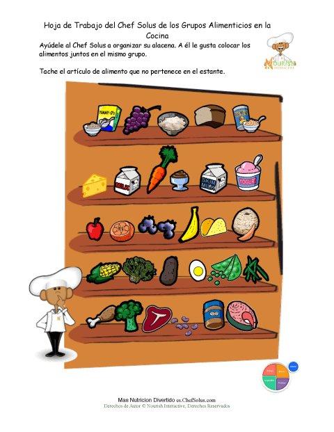 Imprimible – Hoja de Trabajo: Clasificar los Grupos Alimenticios