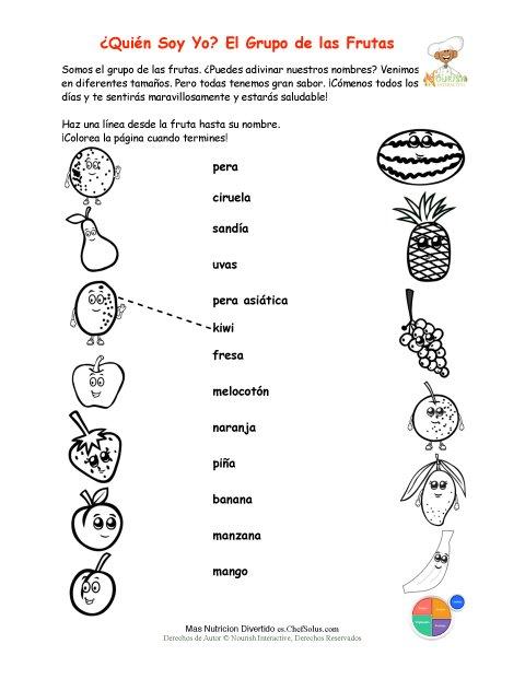 Imprimible Empareja Los Nombres De Las Frutas Y Colorea