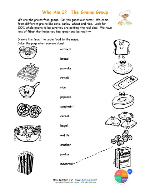 Printable - Match the Grains Names and Color the Grains Foods