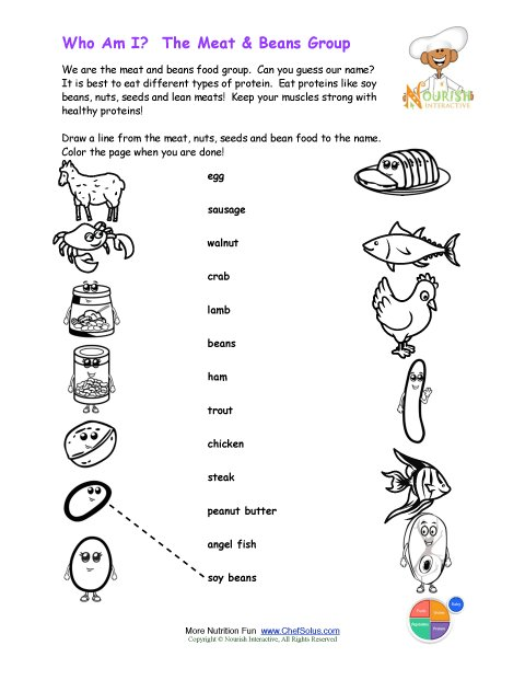 Printable Match the Meat Beans Names and Color the Meat