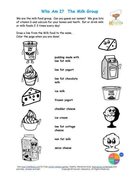 Printable Match The Milk Names And Color The Milk Foods