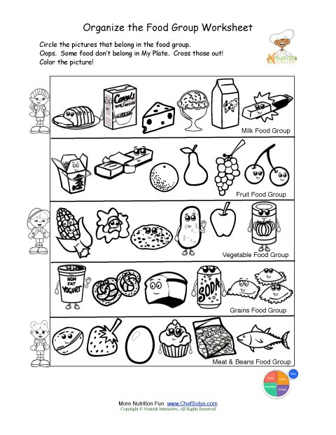 Food Worksheets For Preschoolers : Printable color and sorting food groups