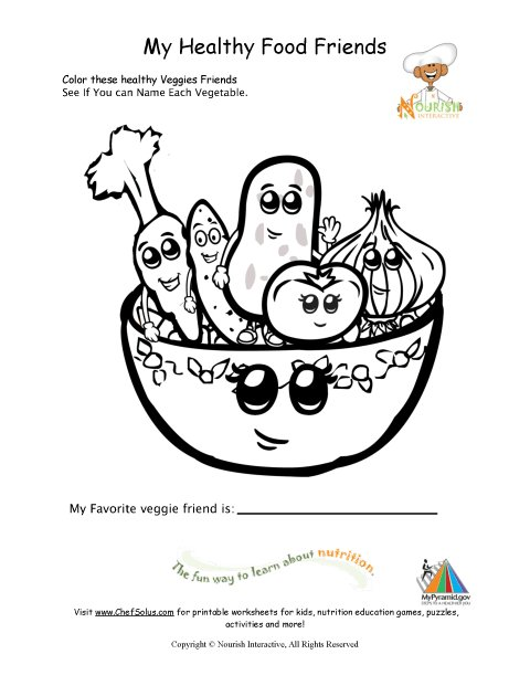 Healthy Foods Coloring Page For Young Children
