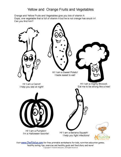 printable orange vegetables and vitamin a coloring sheet
