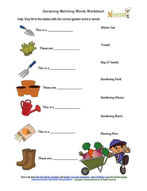 Kids gardening tools matching activity sheet for Gardening tools used in planting crossword clue