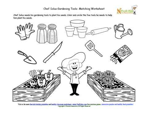 Kids fun matching garden tool activity worksheet for Gardening tools used in planting crossword clue