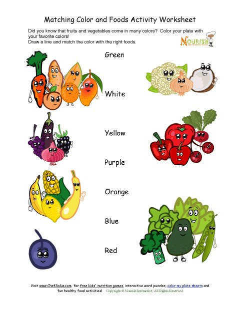Food Worksheets For Preschoolers : Match the color with foods activity