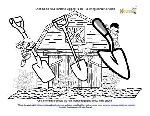kids gardening tools coloring pages - photo#28