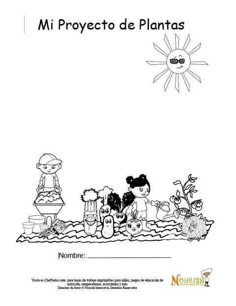 Página Colorida de Portada Para Niños Para su Diario de Jardinería ...