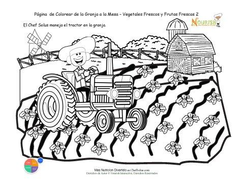 Hoja de Colorear: El Chef Solus Monta un Tractor
