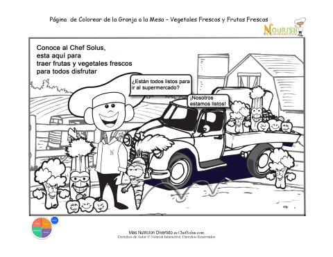 Imprimible - Hoja de Colorear El Chef Solus Recoge Frutas y Vegetales