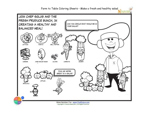 Printable - Select Fruits & Vegetables For Your Salad Coloring Sheet