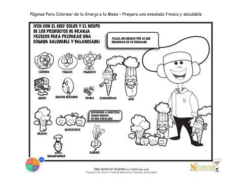 Página para Colorear - Selecciona Frutas y Vegetales Para tu Ensalada