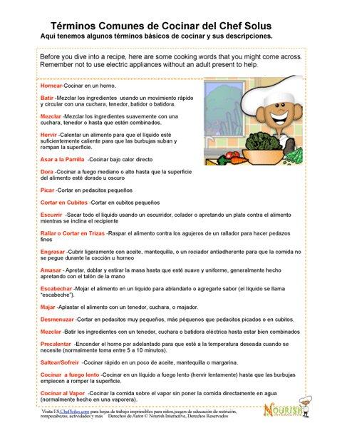 Vocabulario De Cocina   El Vocabulario De Cocina Del Chef Solus
