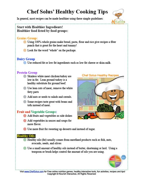 Chef Solus Healthy Cooking Tips Printable