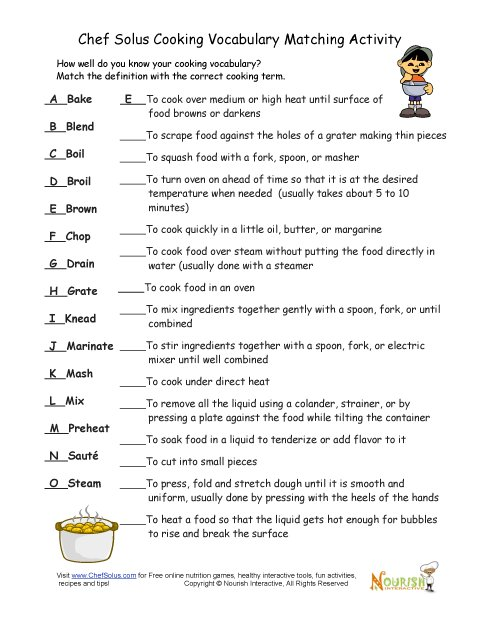 Worksheets Vocabulary Matching Worksheet cooking vocabulary definition matching exercise