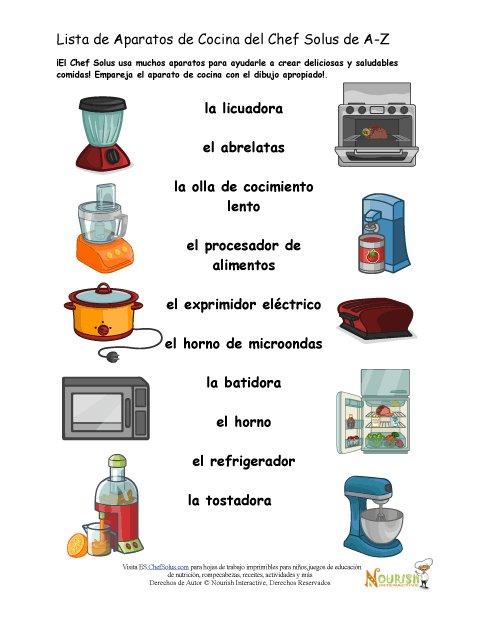 Hoja de trabajo para emparejar el aparato de cocina for Cocinar en frances