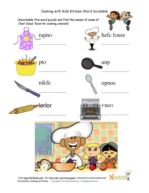 Cooking Picture Unscramble Word Puzzle