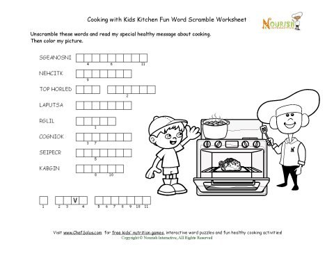 Kitchen Word Fun Word Unscramble Puzzle