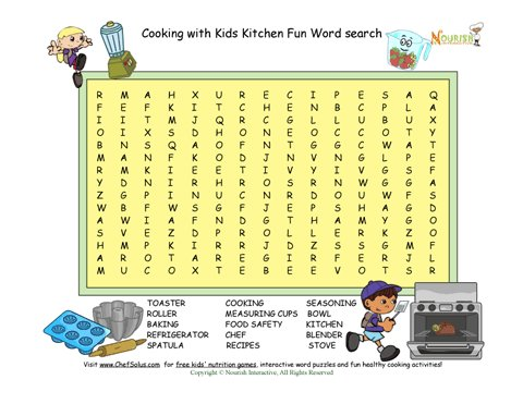 Cooking fun word search puzzle for Gardening tools word search