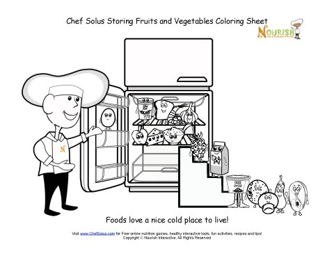 Chef Solus Storing Fruits and Vegetables Coloring Sheet