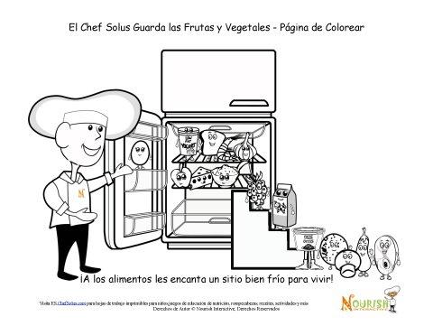 Hoja de Colorear del Chef Solus Guardando Frutas y Vegetales
