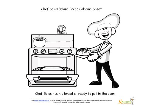 Chef Solus Bakes Fresh Bread In The Oven Coloring Sheet