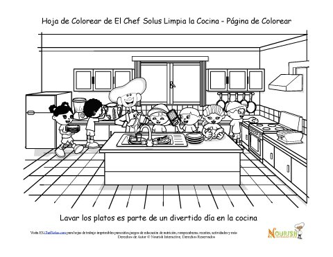 Hoja De Colorear Del Chef Solus Limpiando La Cocina