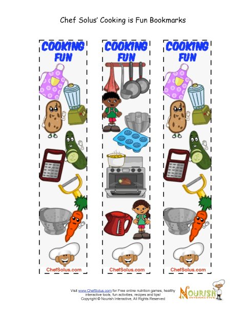 Bookmarks - Printable Cooking Is Fun Colorful Bookmarks