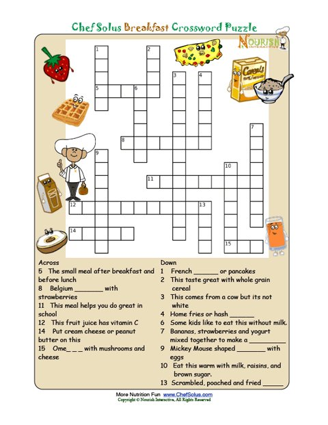 Printable Nutrition Crossword Puzzle Breakfast