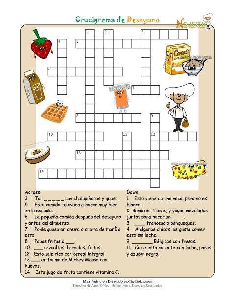 Imprimible crucigrama de nutrici n desayuno - Temario fp cocina y gastronomia ...