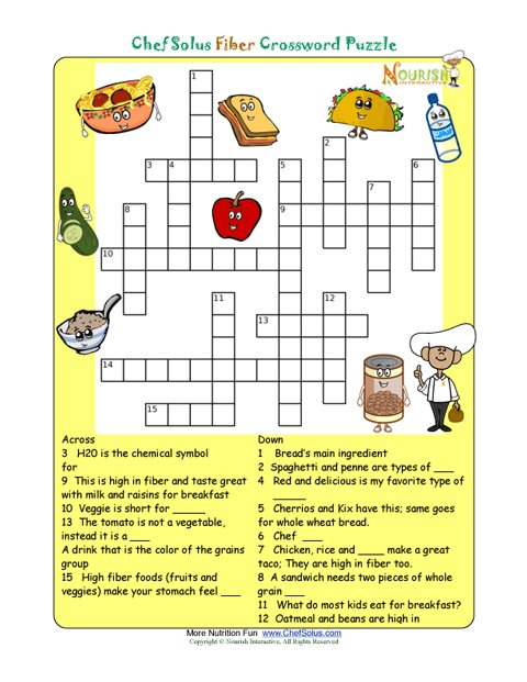 Printable Nutrition Crossword Puzzle - Fiber