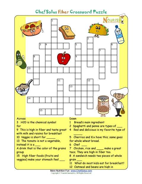 Printable Nutrition Crossword Puzzle - Fiber