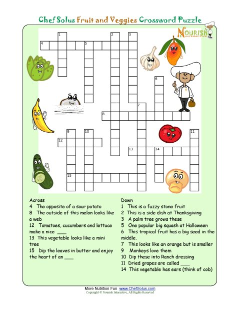 Printable Nutrition Crossword Puzzle Fruits And Veggies