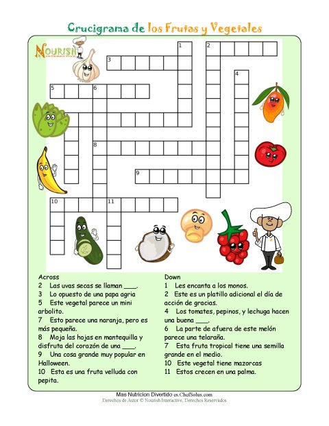 Imprimible-Crucigrama de Nutrición - Frutas y Vegetales