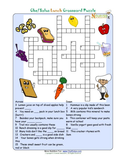 printable nutrition crossword puzzle lunch. Black Bedroom Furniture Sets. Home Design Ideas
