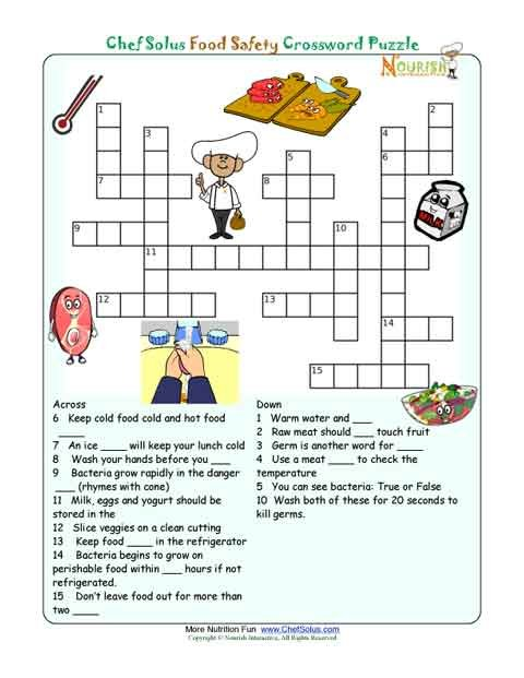 Printable Nutrition Crossword Puzzle  Food Safety