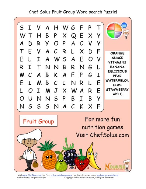 Printable 10 word search puzzle fruit group for Gardening tools word search