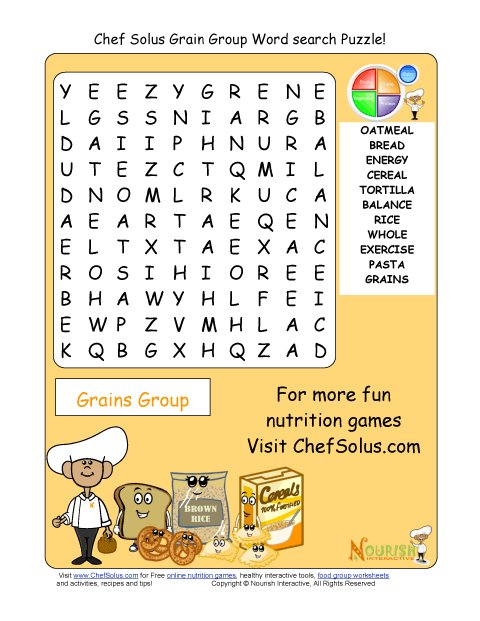 Printable 11 word search puzzle grains group for Gardening tools word search