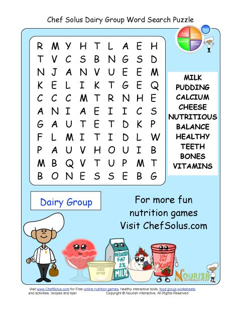 Printable - 10 Word Search Puzzle - Milk Group