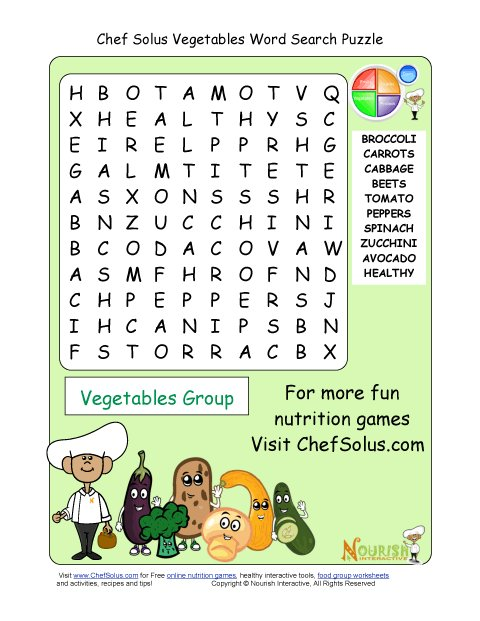 printable 10 word search puzzle vegetables group. Black Bedroom Furniture Sets. Home Design Ideas