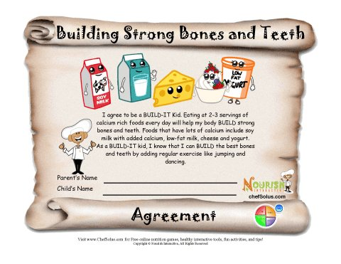 Building Strong Bones And Teeth Healthy Contract Printable Agreement