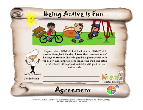Being Active Is Fun Healthy Goal Printable Agreement